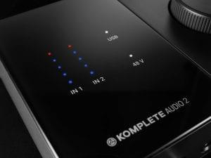 Komplete Audio 2 VU and phantom meter