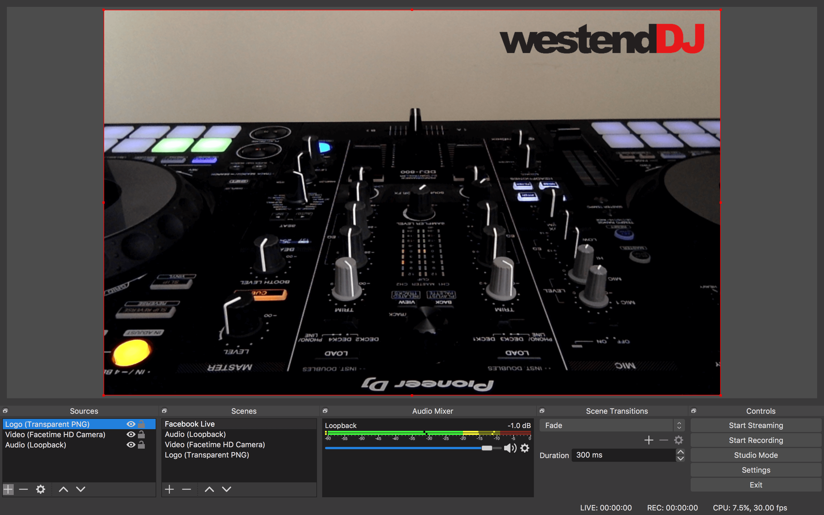 OBS Facebook Live Streaming for DJs Project